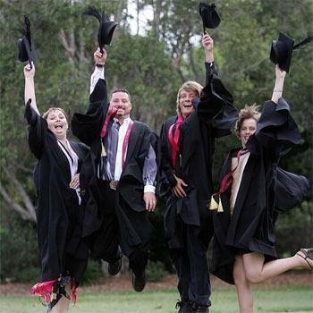 Liza Perrens, Dan Clarke, Lindsay Connolly and Carla Williams were in a festive mood after graduation.