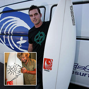 Dale Fielder of Primitive Surf with the surfboard which has been signed by Xavier Rudd (inset) and is currently up for auction to raise money for Sunshine Coast Surf lifesaving. Photo: Kari Bourne/ 170987b