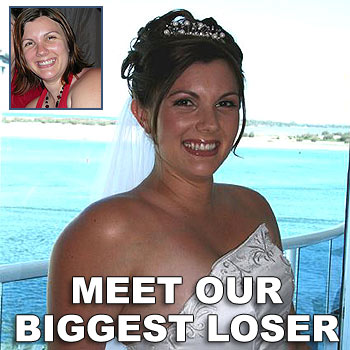 Amanda Boardman was all smiles on her wedding day and, inset, before she embarked on her new fitness regimen.