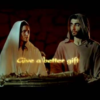 Holy uproar: The television ad that shows the baby Jesus heaving gifts out of the manger.