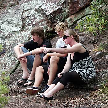 Friends of Dominic Hayes at  Wappa Falls, where their mate drowned on Tuesday. Photo: Barry Leddicoat/ 171267s