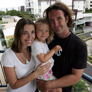 Kirstin, Sailor and Jeremy Bloomfield in their new accommodation at Mantra Mooloolaba Beach.  Photo: Chris McCormack/cm171248