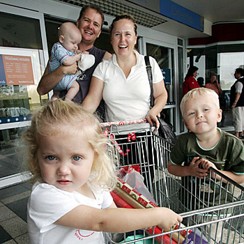 Olivia, 2, Thomas,4 months, Andrew, Karen and Samuel,4 Steele of Wiepa shopping at Sunshine Plaza.
