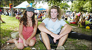 BEGGING FOR MORE: Enjoying Byron Bays Beggars Banquet on Saturday are Lucy Oliver and friend Brendan Ford, both of Byron Bay.