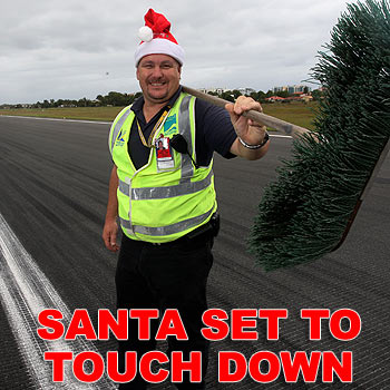 Randy Atkinson has been sweeping the runway at Sunshine Coast Airport in preparation for the arrival of Santa and his reindeer. Photo: Cade Mooney/171316d