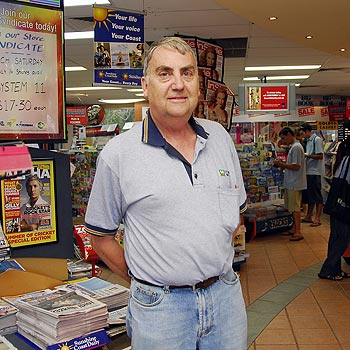 Coolum business owner Lance Barrett says it will be a disaster if his newsagency is not open for business next Christmas.  Photo: Geoff Potter/n19377e