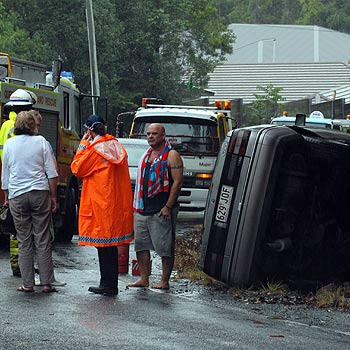 The scene of yesterday's car accident on Crosby Hill Road, Buderim. Photo: Warren Lynam