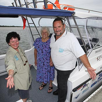 Annette, Margaret and Greg Balfour are delighted to see their dream of a boat for the disabled come to fruition. Photo: Michaela O'Neill/171238c