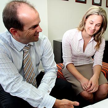 Accounting North director Matt Richards talks business with Emily Barnes.  Photo: Jason Dougherty/171264