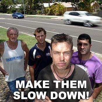 Graham Cox, Mark Lester, Craig Aitken and Darren Hetherington want speed bumps on North Buderim Boulevard. Photo: Chris McCormack/cm172023a
