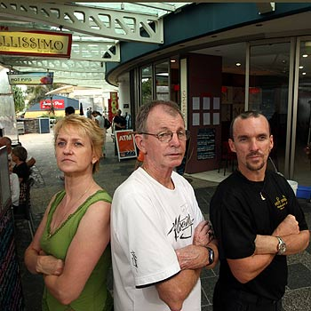 (L to R) Kathy Lavi from Casablanca, Peter Evans from Bellisimo Bar and Grill and Peter Nipperess from Hot Pipi's Mooloolaba. They are fed-up with losing thousands of dollars due to the trade they lose everytime there is a power outage. Photo: Cade Mooney/172074