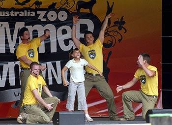 Bindi and the Crocmen perform a new show at Australia Zoo.