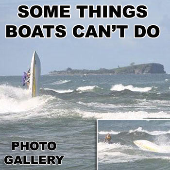Four blokes playing games with a jet ski found out the hard way that sometimes boats aren't quite as responsive as jetskis on the waves. Photo: Cherie Bell.
