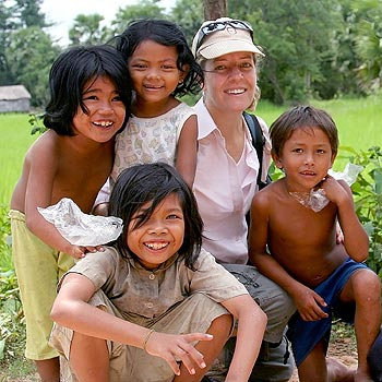 Deborah Groves is happiest helping the Cambodian people, particularly the local children of Prasat Char village.