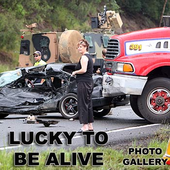 The driver of a Nissan Skyline is lucky to be alive after losing control on the Bruce Highway Nambour at the Parklands exit. Photo: Jason Dougherty