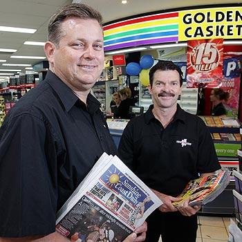 NewsXpress Buderim owners Jim Carlile and Peter Davidson. Photo: Chris McCormack/cm172066b