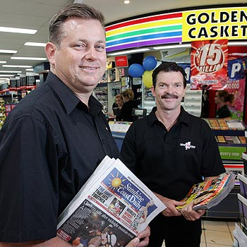 NewsXpress Buderim owners Jim Carlile and Peter Davidson. Photo: Chris McCormack/cm172066b