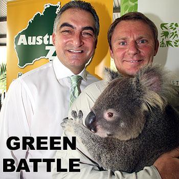 Maroochy mayor Joe Natoli has won support for his $50 million green plan from Australia Zoo's Wes Mannion. Photo: Jason Dougherty.