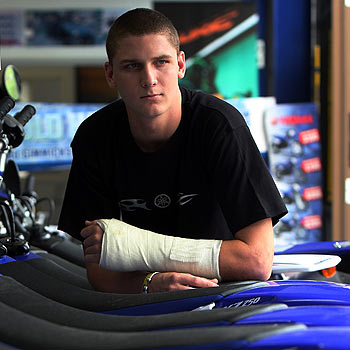 A broken wrist has severely limited Ford Dale's preparation for the 2008 motocross season. Photo: Cade Mooney/172203a