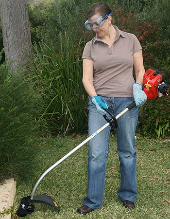 Working out with a Mighty Lite line trimmer may improve the look of you and your garden.