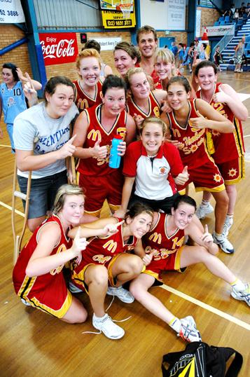 The Coffs under-18 girls team celebrates winning the final yesterday afternoon.