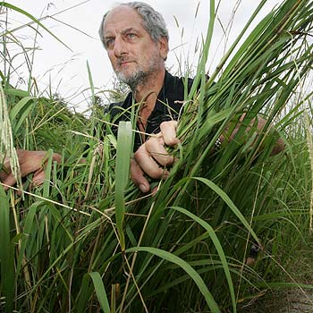 Mike Buky shows the length of the grass that has grown along the path from Bundilla to Sippy Downs. Photo: Chris McCormack/172279