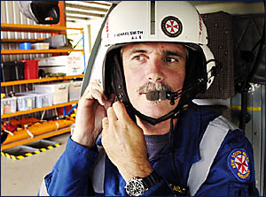 MAN ON A MISSION: Ambulance service Paramedic Michael Smith, who regularly flies missions for the Westpac Life Saver Rescue Hel