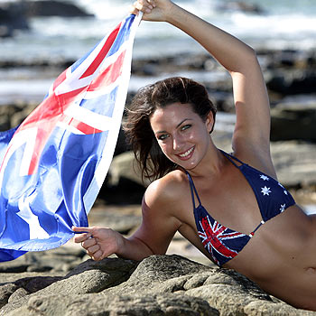 Alex Coleborn gets into the true-blue spirit, flying the flag for Australia Day. Photo: Chris McCormack/172348f