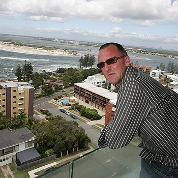 PRD Nationwide Elite agent Mark Unkel checks out the view from the Aspect Caloundra penthouse. Photo: Barry Leddicoat/172308b