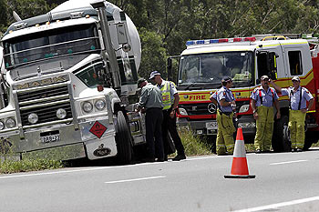 A 20 tonne LPG tanker left the road when a smaller truck had a blow out in front of it the Bruce Highway just after the Buchannen Road turn off before the BP travel centre. Photographer: Gemma-Rose Turnbull