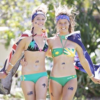 Sarah Hartley, 18, of Kawana and Caitlin Ollier, 19, of Caloundra at the Caloundra Australia Day celebrations.