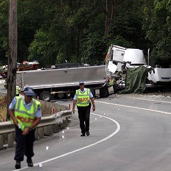 The scene of the fatal truck crash on the D'Aguilar Highway near Wamuran. Photo: Christine Stubbs