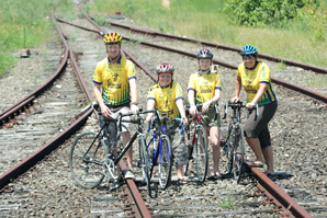 READY to ride. Peter, Lachlan, Abbie and Jacqui McMahon on the old Murwillumbah train line.