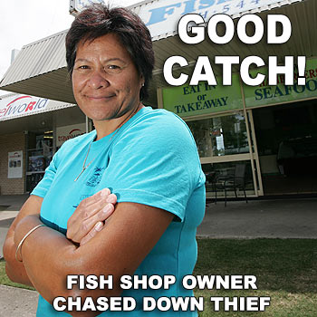 Wiki Balkin of Wiki'd Fish and Chips at Mooloolaba has been enjoying newfound fame since chasing down a thief. Photo: Chris McCormack