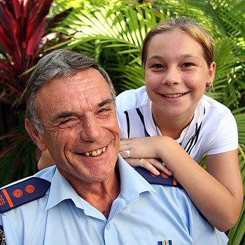 Noosa SES's Dave Hanchard and his grandaughter Jamie-lee Hanchard, 12, both received Australia Day awards for their community service. Photo: Michaela O'Neill/ 172392a