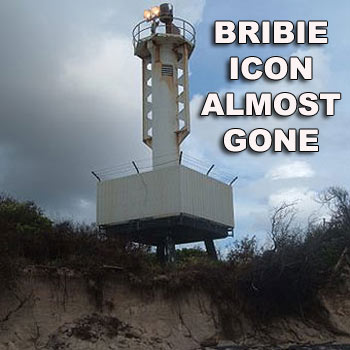 Tony Pearson is predicting the lighthouse beacon may be lost or at least damaged and the North spit will be breached on Bribie Island.
