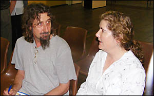John Steuwe, of Kyogle, receives advice from NSW Legal Aid%solicitor Lurline Dillon-Smith at yesterdays legal forum.