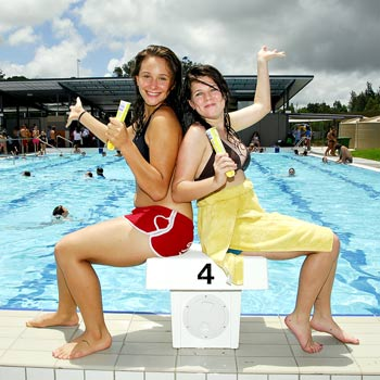03/02/08  n19657f  Enjoying themselves at the Official Opening of the Eumundi Aquatic Centre are Camilla Henriksen  (left) and Madison Payton of Cooroy.        Photo by Geoff Potter