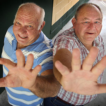 Norm Coxon and Norm Lohman have given Maroochy council a combined century of service. Photo Michaela O'Neill/172502