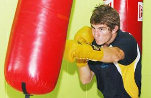 Casey Cyclone Hannan, preparing for Friday nights fight at Coolangatta/Tweed Golf Club