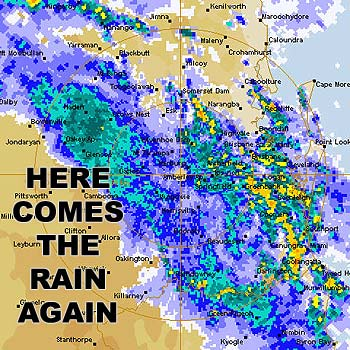 The weather bureau's rainfall image, taken about 4.30pm, of the rain heading the Coast's way.