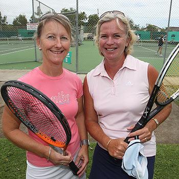 Linda Corbett and Amanda Starett ready to play in the charity tennis tournament  Photo: Michaela O'Neill/ 172565k