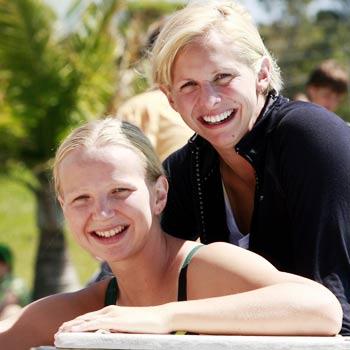 Melanie Schlanger and Libby Lenton, training at Caloundra Aquatic Centre.    Photo: Kari Bourne