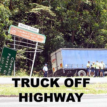 Truck off the road on the Bruce Highway at Forest Glen. Photo Warren Lynam