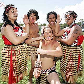 Juana, Junior, Glen, Brett and Nardia from Te Roopu Tautoko Maori culture group at the Waitangi Day celebrations at Lighthouse Park, Caloundra. Photo: Brett Wortman/bw172675a