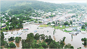 An aerial picture of the floods that inundated Kyogle in January, causing millions of dollars worth of damage.