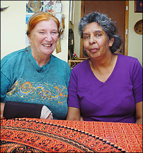 APOLOGY TIME: Priscilla Wightman with her friend Judith Light (left). Ms Light is a member of Lismore People for Reconciliation
