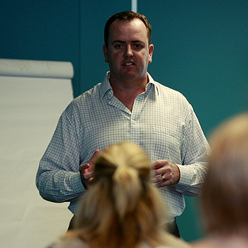 James Cooper of Chilli Group presents a marketing workshop. Photo Kari Bourne/ kb172613a