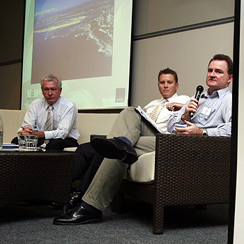 Savills' Paul Day, CBRE's Brendan Robins and Malcolm Aikman of URBIS answer questions at the report's release.  Photo Kari Bourne/ kb172615a