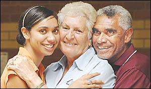 FEELINGS: Aboriginal elder Auntie Irene Harrington (centre) and her son Mooh Harrington senior and her grand-daughter Sasha Har